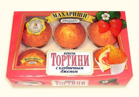 Мини-Кекс ТОРТИНИ клубника 200гр*16шт