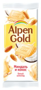 Шоколад Альпен Голд белый миндаль+кокос стружка 90гр*5бл*20шт