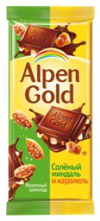 Шоколад Альпен Голд молочный солен.миндаль+карамель 90гр*5бл*20шт