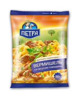 Вермишель ПЕТРА 50гр*100шт говядина
