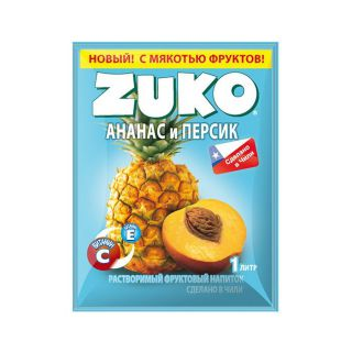 Сухой сок ZUKO ананас - персик 25гр* 8бл*12шт
